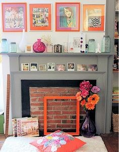 grey fire place