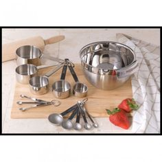 14 Piece Stainless Steel Measuring Kit With Bowl, Spoons & Cups - anna's