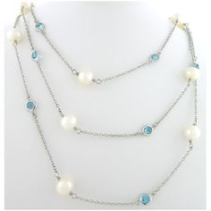 Blue Topaz and Pearl Stone by the Yard paradisojewelry.com wholesale sterling and genuine gemstones
