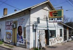 Sam's BBQ Austin TX  I love fine design and beautiful places, places I will never experience. But this looks like my REAL kinda place, and if it wasn't so far away, I'd be there in a flash and gnawing on those ribs with my teeth.