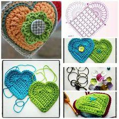 Serca na szydełku DIY - ponad 400 schematów i wzorów   ,Pattern, schematy szydełkowe, serca na szydełku, Szydełko, walentynki, Dzień Matki