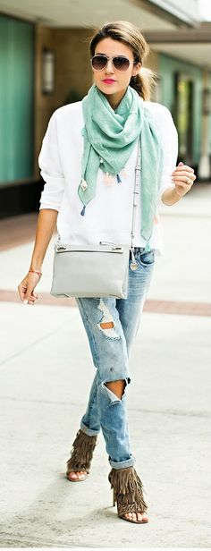 Hello Fashion - White Sweater with Teal Tassel Scarf and Denim Jeans and Fringe Heels Sandals