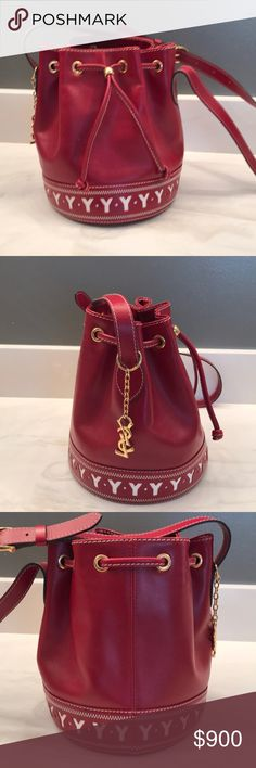 Yves Saint Laurent Yves St Laurent authentic leather red and white bucket  purse. Excellent condition 2c21d899080e5