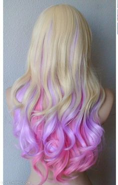 Pink, blond and lavender curls girly hair girl pretty girls pretty hair hairstyle styles of hair girl hair