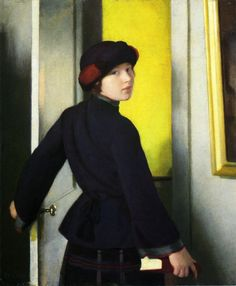 Leaving the Studio painting by William MacGregor Paxton. Oil on canvasboard, 1921.