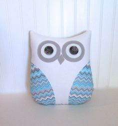 blue owl pillow, gray, baby blue and white pillow, blue and gray chevron stripe pillow, blue and gray nursery, gift under 40, dorm decor