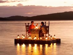 lake dinner with lanterns