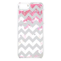 <P>Shimmer and shine like a star. Clear phone case with silver chevron print on front and pink liquid glitter and stars that move when you move the case. </P><UL><LI>Liquid filled <LI>Clear casing <LI>Available in multiple sizes</LI><li>Apple Inc. is not responsible for this product. iPhone® and iPod® touch are registered trademarks of Apple Inc.</li&a...