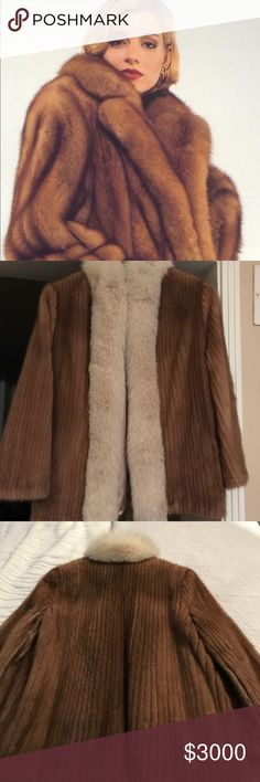 Two day sale! Corduroy Mink Coat Rabbit Fur Trim Fits like a petite small. Measurements in photos. Excellent condition except for a few snags in the inside lining see photos for details. 100% genuine mink with rabbit fur trim. Offers welcome Izards Jackets & Coats
