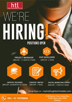 We are hiring! Roket management services & Hugh Technolabs Pvt Ltd. Open the doors for #Project_Manager #PHP_Developer #Graphic_Designer #Content_Writer #Digital_Marketing_Expert Drop your CV at: myhr@hughtechnolabs.com For more information Call +91-7357666656 Get to know us : www.hughtechnolabs.com / www.roketvending.com Office Address- S 202 Signature Tower, Gautam Marg, VAISHALI NAGAR ,JAIPUR - 302021 Hiring Poster, Recruitment Ads, Advertising Flyers, Office Address, Timeline Design, Study Motivation Quotes, Hiring Process, We Are Hiring, Job Posting