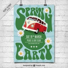 Spring party hippy poster Free Vector