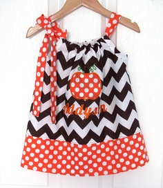 Pumpkin Fall Embroidered Pillowcase Dress by jamnjelli on Etsy, $27.00