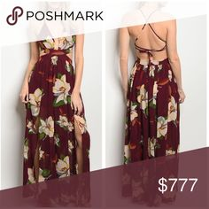 PREORDER Burgundy Maroon Floral Slit Maxi Dress Arrives 1/24/18. Will ship 1/24-1/25. Burgundy maroon sleeveless floral print maxi dress that features a v-neckline, thigh high splits, and a sexy open criss cross, lace up, tie up back. 100% polyester. Pair it with a long dainty necklace and layer with a kimono or cocoon cardigan for a coverup. The Luxe Bohemian Dresses Maxi