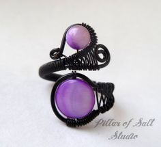 Wire wrapped ring / black wire and purple mother of pearl / Goth jewelry / wire jewelry by PillarOfSaltStudio