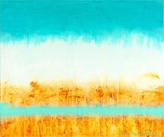 """Large Abstract 20 x 24 Acrylic Lightly Textured Painting on Canvas titled """"Teal and Butterscotch""""artist, Gwen Duda, ©2015, available at GwenDudaStudios"""