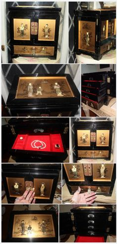 Vintage Oriental Jewelry Box Lacquer Mother of Pearl 5 Drawers, Brass Hardware  | eBay http://www.ebay.com/itm/Vintage-Oriental-Jewelry-Box-Lacquer-Mother-of-Pearl-5-Drawers-Brass-Hardware-/331876967824
