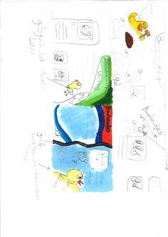 Dit is een schets van de animatie's die ik in mijn website zou willen hebben.  De animatie dat het is geworden is de eend met de hamer die staat op de eerste schets.