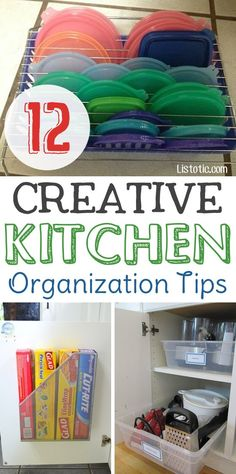 Easy DIY small kitchen organization ideas for cabinets, countertops, the pantry or under the sink! Cheap tips and tricks anyone can do.