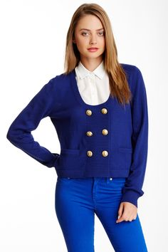 if only LOVE Moschino | LOVE Moschino Wool Blend Double Breasted Cardigan | Nordstrom Rack