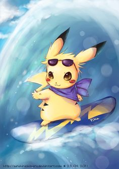 """Image of a surfing Pikachu, an unusual Pokémon first available in """"Pokémon Yellow,"""" a remake of Pokémon Red / Blue released in North America for the Game Boy Color in 1999"""