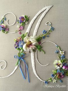 Wonderful Ribbon Embroidery Flowers by Hand Ideas. Enchanting Ribbon Embroidery Flowers by Hand Ideas. Embroidery Alphabet, Embroidery Monogram, Hand Embroidery Stitches, Silk Ribbon Embroidery, Hand Embroidery Designs, Embroidery Techniques, Cross Stitch Embroidery, Embroidery Bracelets, Cross Stitches