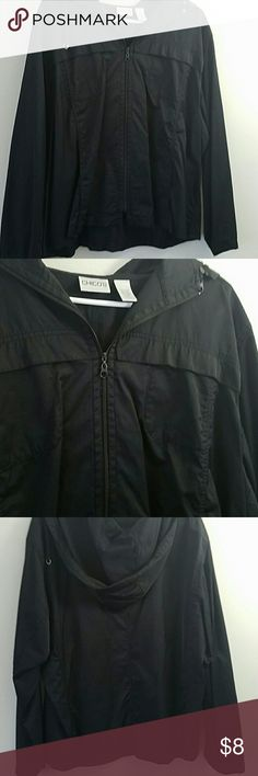 Chico's Rain Jacket. EUC! Excellent used condition. Black. No fading or flaws. Size 3 in Chico's. Equivalent to an xl. Great for spring time. Lightweight. With hood.  Open to offers.  Consider bundling.  30% off all bundle purchases! Chico's Jackets & Coats