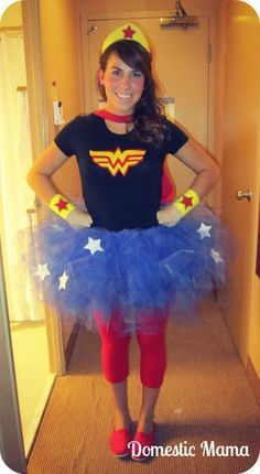 I need tho skirt to go with  my Wonder Woman t-shirt and cape.  14 DIY Halloween Costumes - A Little Craft In Your Day