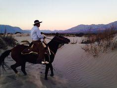 """La Estancia de Cafayate's gaucho traverses across the natural sand dunes reserve on """"Popcorn"""", the pure bread smooth gaited Peruvian Paso.    Un gaucho de La Estancia de Cafayate en la reserva natural de dunas de arena en """"Popcorn"""", el caballo puro Peruano de Paso ."""