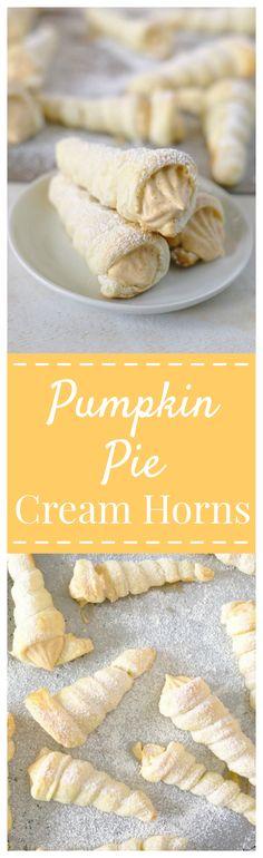 Pumpkin Pie Cream Horns – Light and flaky puff pastry cream horns filled with a creamy whipped pumpkin pie filling inside! The perfect fall treat! #PumpkinWeek #pumpkin #dessert #fall