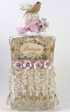 Vintage perfume bottle--shabby-chic from Charlotte Minor. Perfumes Vintage, Antique Perfume Bottles, Vintage Bottles, Bottles And Jars, Glass Jars, Beautiful Perfume, Altered Bottles, Bottle Vase, Bottle Lamps