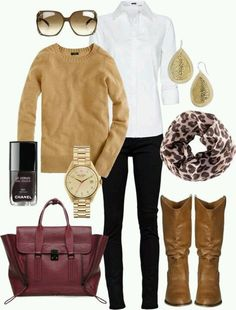 This is a great office look for when the weather gets colder. The boots and sweater pair nicely with a animal print scarf.