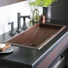 Native Trails, Inc. Trough Metal Rectangular Undermount Bathroom Sink - Native Trails, Inc. Drop In Bathroom Sinks, Copper Bathroom, Undermount Bathroom Sink, Bathroom Faucets, Small Bathroom, Copper Sinks, Bathroom Ideas, Kitchen Sinks, Master Bathroom