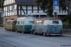 slammed VW T1 Split Bus Bus line-up, Hessisch Oldendorf VW Show, June 22, 2013, 6:05 a.m.