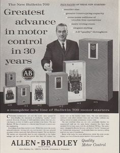 "Description: 1961 ALLEN-BRADLEY vintage print advertisement ""The New Bulletin 709""""Greatest advance in motor control in 30 years"" Size: The dimensions of the full-page advertisement are approximately 11 inches x 14 inches (28cm x 36cm). Condition: This original vintage advertisement is in Very Good Condition unless otherwise noted ()."