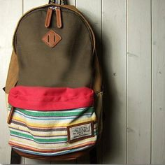 Folk Fashion Mixing Color Stripe Print Canvas Backpack