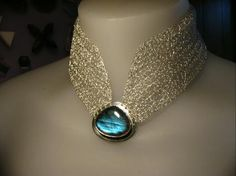 Necklace | Ruth Baird.  Labradorite and silver crochet, silver button fastening at back.