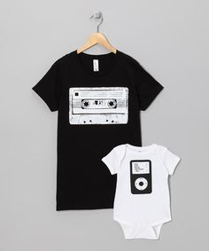 White iPod Bodysuit & Black Cassette Tee - Infant & Adult by Little Treetops on #zulily