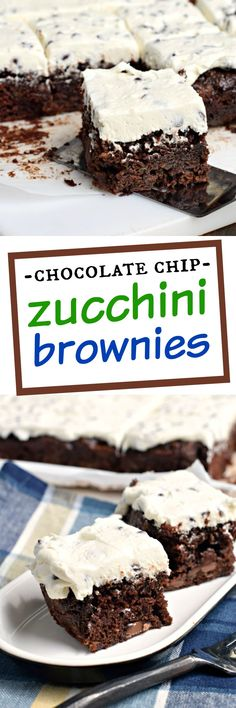 Fudgy Chocolate Chip Zucchini Brownies with Chocolate Chip Frosting are…