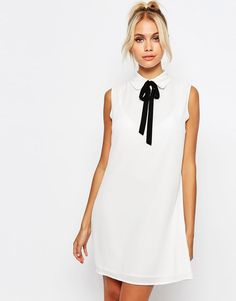 Fashion Union Sleeveless Shirt Dress with Tie Neck