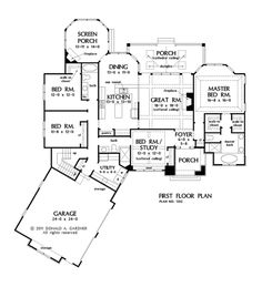 One story house plans with split master and open concept floorplan. If our plans to build our own house someday pan out, this is the most perfect floorplan. The Plan, How To Plan, Plan Plan, Dream House Plans, House Floor Plans, My Dream Home, Plan Design, Home Design, Design Ideas