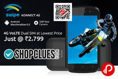 """Shopclues is offering #SwipeKonnectMobile 4G VoLTE Just @ Rs.2799. Android Marshmallow 6.0, 5MP Rear Camera, Dual Sim, 4G VoLTE, 1.5 GHz Quad Core CPU, 512 MB RAM, Super Fast Processor, 4GB Storage ROM, Expandable upto 32 GB, 2000 mAh Battery, 4"""" WVGA Display Display. Rs.200 off to first 500 Registrations. The coupon code can be applied at the time of purchase.  http://www.paisebachaoindia.com/swipe-konnect-mobile-4g-volte-just-rs-2799-shopclues/"""