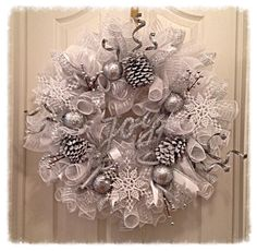 Winter Wonderland Pinecone Deco Mesh Wreath/Christmas Wreath/Snowflake Wreath/Christmas Joy Wreath/Pinecone Wreath by CKDazzlingDesign on Etsy