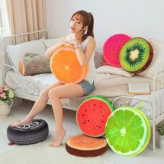Jazz up the interior of your room with this watermelon fruit slice cushion. These fruit-shaped cushions are going to add a dash of freshness to your room and make it appear livelier than ever. Availab