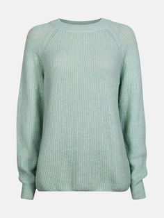 6eb2c5d3 Strikket genser i myk kvalitet med rund hals og ribbestrikket mansjetter.  Normal passform. Lys