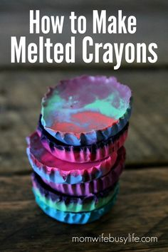 Do you have any old or broken crayons around the house? Here's a great activity - How to Make Melted Crayons. They turn out so pretty!