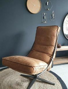 Blue Grey Walls, Grey Walls Living Room, Brown Wall Decor, Blue Gray Bedroom, Denim Drift Living Room, Contemporary Living Room Design, Brown Leather Chairs, Leather Chair Living Room, Brown And Blue Living Room