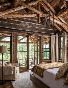 Fantastic Rustic Cabin Bedroom Decorating Ideas on Home Inteior Ideas 7175 Log Cabin Living, Log Cabin Homes, Log Cabin Bedrooms, Log Home Decorating, Decorating Ideas, Decor Ideas, Cabins And Cottages, Cozy Cabin, Architecture