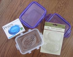 These small snap-lock snack boxes from Dollar Tree could be useful for several items, but I use them as soapboxes, with a soap saver inside. The soap savers with soap won't fit in all the types of boxes, but they will in some.