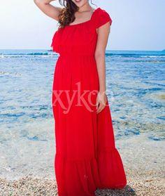 #Bohemiandresses #Chiffondresses #Straplessdresses #redDresses #beachdresses #chiffonholidaydresses