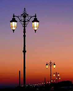 Street lights at sunset, Southsea Lantern Lamp, Candle Lanterns, Light In, Lamp Light, Outdoor Lamp Posts, Beautiful Places, Beautiful Pictures, Paris Ville, Street Lamp